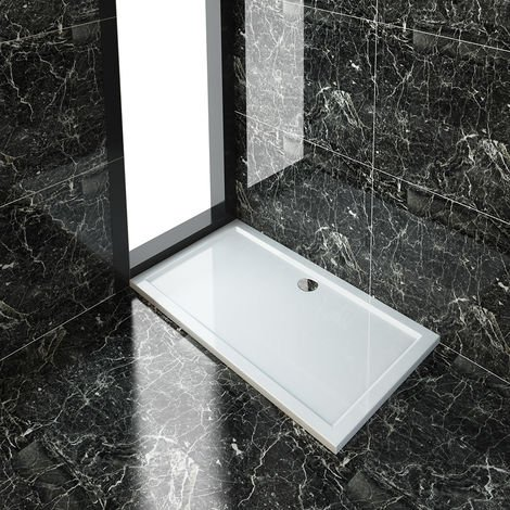 ELEGANT Rectangular 1400 x 800 x 40 mm Stone Tray for Shower Enclosure Cubicle + Waste Trap