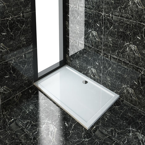 ELEGANT Rectangular 1400 x 900 x 40 mm Stone Tray for Shower Enclosure Cubicle + Waste Trap