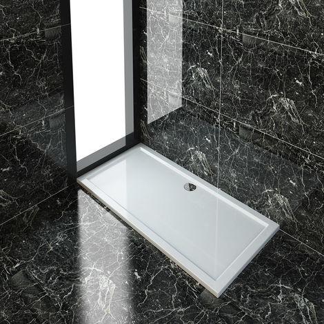 ELEGANT Rectangular 1700 x 800 x 40 mm Shower Tray for Shower Enclosure Cubicle + Waste Trap
