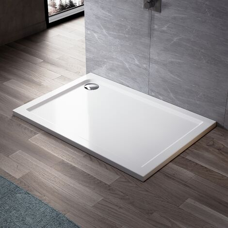 ELEGANT Rectangular 900 x 700 mm Stone Tray for Shower Enclosure Cubicle + Waste Trap