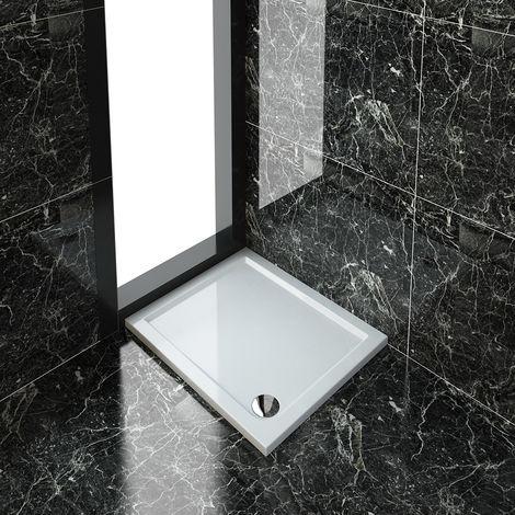 ELEGANT Rectangular 900 x 760 x 40 mm Stone Tray for Shower Enclosure Cubicle + Waste Trap