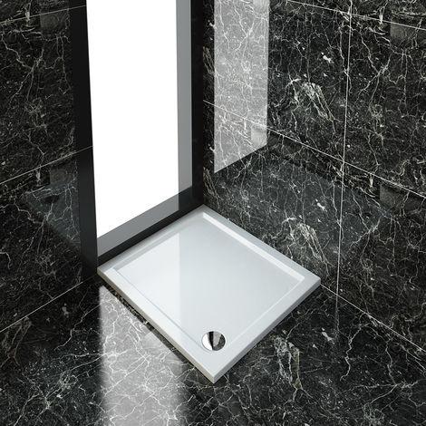 ELEGANT Rectangular 900 x 800 x 40 mm Stone Tray for Shower Enclosure Cubicle + Waste Trap