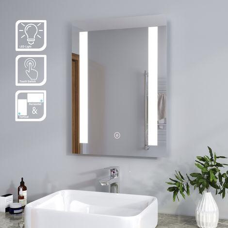 ELEGANT Rectangular Backlit LED Illuminated 450 x 600mm Bathroom Mirror with Light and Touch Sensor