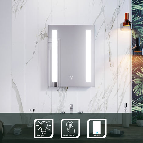 ELEGANT Rectangular Backlit LED Illuminated450 x 600mm Bathroom Mirror Wall Mirror with Light Touch Sensor