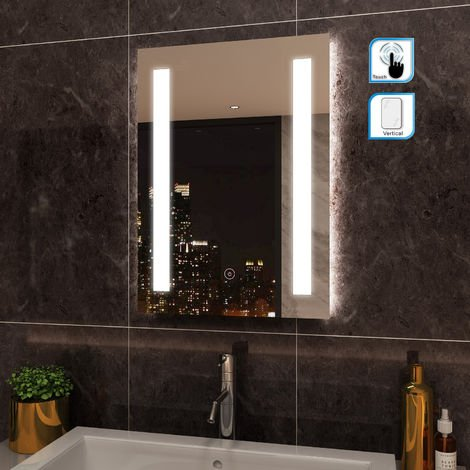 ELEGANT Rectangular Frontlit 450 x 600mm LED Illuminated Bathroom Mirror Wall Mirror with Light Touch Sensor