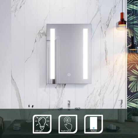 ELEGANT Rectangular Frontlit LED Illuminated 450 x 600mm Bathroom Mirror Wall Mirror with Light Touch Sensor