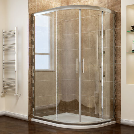 ELEGANT Right Quadrant Shower Enclosure 6mm Sliding Glass Cubicle Door with Tray + Waste, 900 x 760 mm