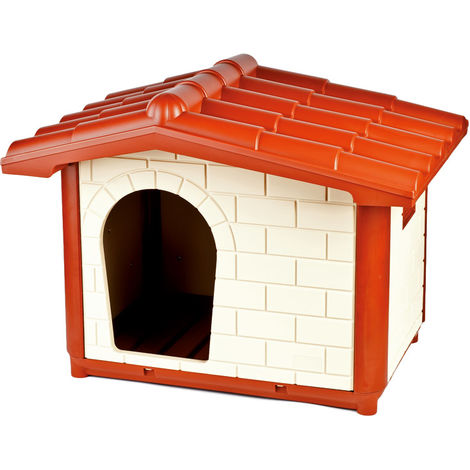 Elegant rigid kennel made of outdoor plastic for dogs with drainage bottom model CORTINA Ferribiella