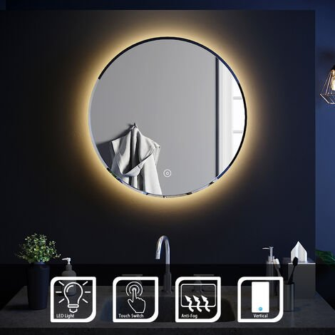 ELEGANT Round Bathroom Mirror Illuminated LED Light Backlit Makeup Mirror with Sensor Touch control, Dustproof &Anti-fog,Warm White Light 600x600mm