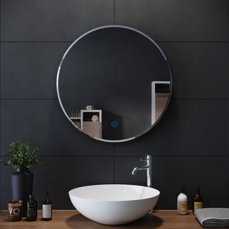 Elegant Round Bathroom Mirror Illuminated Led Light Backlit Makeup Mirror With Sensor Touch Control Dustproof Anti Fog Warm White Light 600x600mm