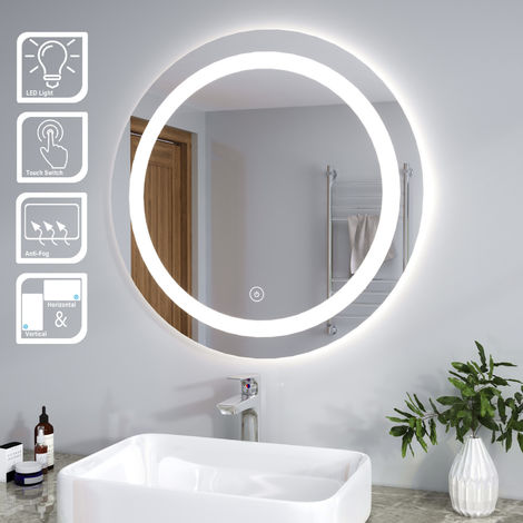 ELEGANT Round Illuminated LED Bathroom Mirror 800 x 800mm with Touch Sensor + Demister