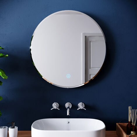ELEGANT Round Illuminated LED Bathroom Mirror Touch Sensor + Demister