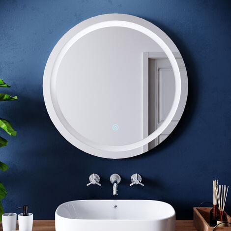 ELEGANT Round Illuminated LED Bathroom Mirror Touch Sensor + Demister