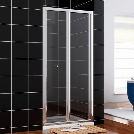 ELEGANT Shower Door 900mm Bi-Fold Shower Door Enclosure Glass Reversible Folding Cubicle