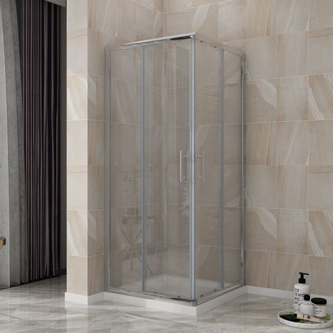 ELEGANT Shower Enclosure Corner Entry 760 x 760 mm Square Sliding Shower Enclosure Cubicle