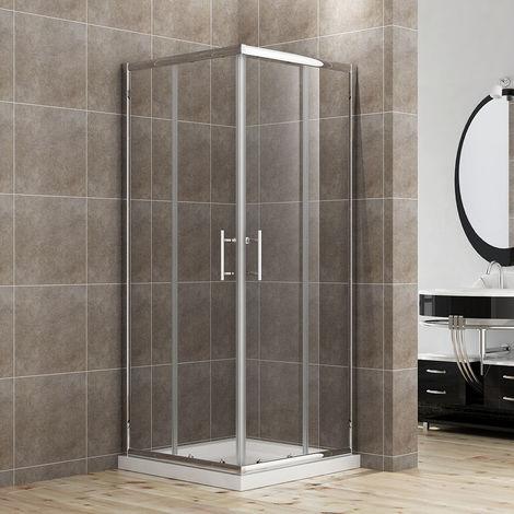 ELEGANT Shower Enclosure Corner Entry Shower Cubicle Square Sliding Doors 800 x 800 mm Universal Design