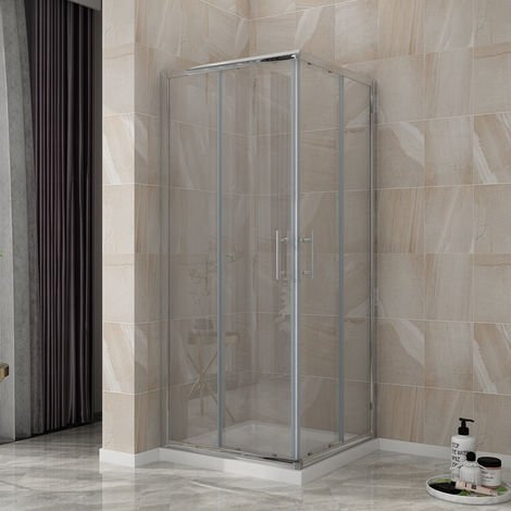 ELEGANT Shower Enclosure Corner Entry Shower Cubicle Square Sliding Doors 800 x 800 mm Universal Design