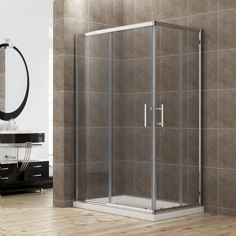 ELEGANT Sliding Corner Entry 900 x 760mm Shower Enclosure Door Cubicle with Stone Tray