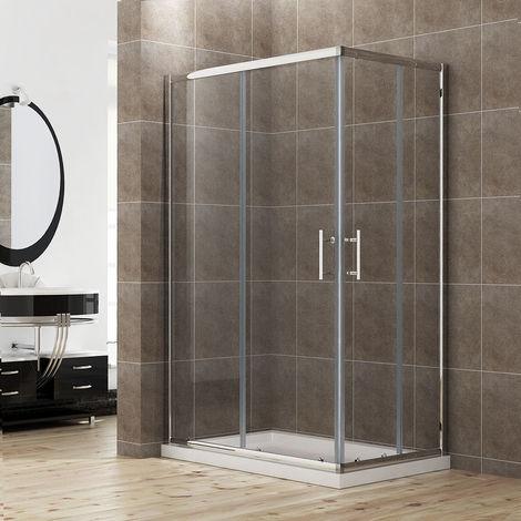 ELEGANT Sliding Corner Entry 900 x 800 mm Shower Enclosure Door Cubicle with Stone Tray