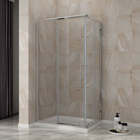 ELEGANT Sliding Corner Entry Shower Enclosure 1000 x 800 mm Door Cubicle with Tray