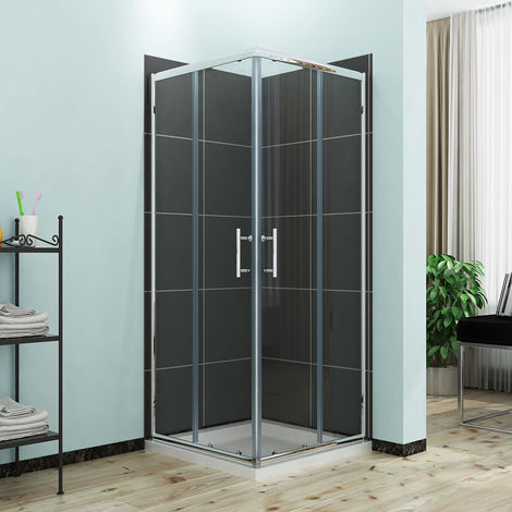 ELEGANT Sliding Corner Entry Shower Enclosure Door Cubicle