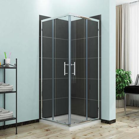 ELEGANT Sliding Corner Entry Shower Enclosure Door with Tray 760 x 760 mm