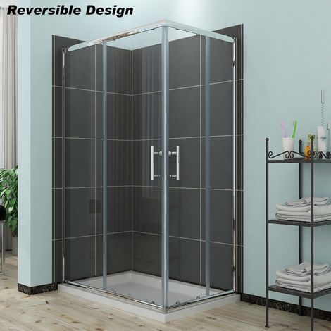 ELEGANT Sliding Corner Entry Shower Enclosure Door with Tray