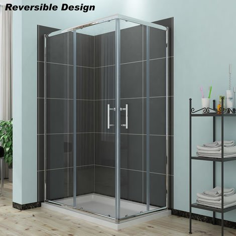 ELEGANT Sliding Corner Entry Shower Enclosure Door with Tray
