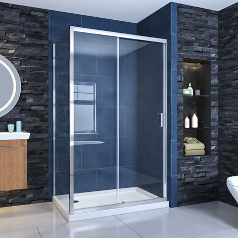 ELEGANT Sliding Corner Shower Enclosure 1100 x 900 mm Cubicle with Shower Tray and Waste 6mm Safety Glass Reversible Shower Door