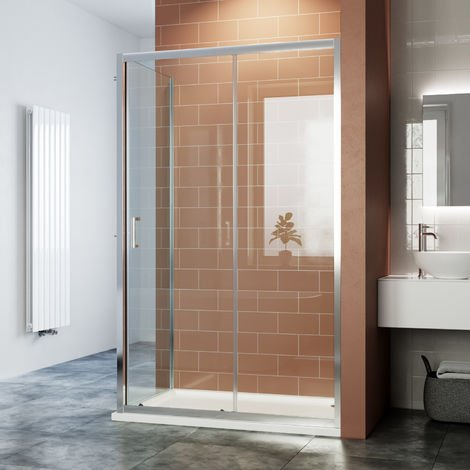 ELEGANT Sliding Corner Shower Enclosure Cubicle with Shower Tray and Waste / 6mm Safety Glass Reversible Shower Door 1100 x 760 mm