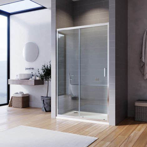 ELEGANT Sliding Shower Door 6mm Safety Tempered Glass 1000x900mm Reversible Bathroom Shower Enclosure Cubicle with Tray and Waste