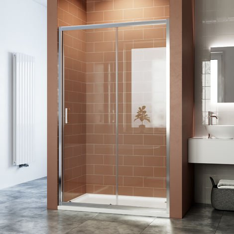 ELEGANT Sliding Shower Door 6mm Safety Tempered Glass Reversible Bathroom Shower Enclosure Cubicle with Tray and Waste 1100x700mm