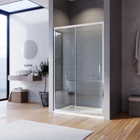 ELEGANT Sliding Shower Enclosure 6mm Toughened Glass Bathroom Smooth Screen Panel Reversible Shower Cubicle 1100mm