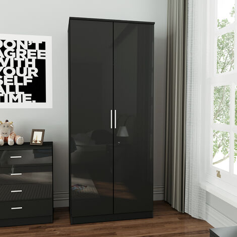 ELEGANT Soft Close 2 Doors Wardrobe with Metal Handles Includes a removable hanging rod and storage shelves, High Gloss, Black