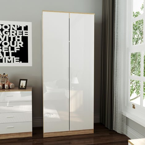 ELEGANT Soft Close 2 Doors Wardrobe with Metal Handles Includes a removable hanging rod and storage shelves High Gloss, White/Oak