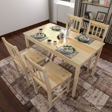 ELEGANT Solid Wooden Dining Table and 4 Chairs Set Dining Kitchen Furniture Natural Pine