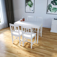 ELEGANT Solid Wooden Dining Table and 4 Chairs Set Dining Kitchen Furniture - White, Natural Pine