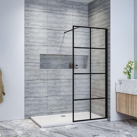 ELEGANT Stain Black 700mm Walk in Shower Door 8mm Safety Tempered Glass Bathroom Open Entry Shower Screen, Reversible Shower Cubicle