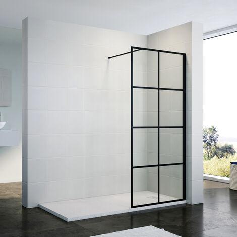 ELEGANT Stain Black 760mm Walk in Shower Door 8mm Safety Tempered Glass Bathroom Open Entry Shower Screen Reversible