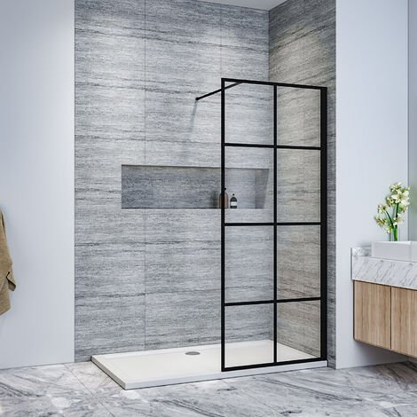ELEGANT Stain Black 760mm Walk in Shower Door 8mm Safety Tempered Glass Bathroom Open Entry Shower Screen, Reversible Shower Cubicle