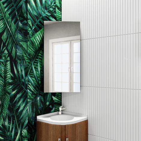 ELEGANT Stainless Steel Corner Cabinet 600 x 300 mm Wall Mounted Bathroom Storage Cabinet Single Door with 3 Shelves Mirror Cabinet