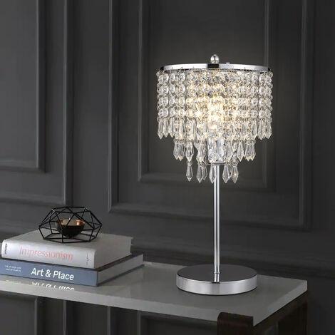 Elegant Stainless Steel Crystal Drop Table Lamp Chrome Base Night Light