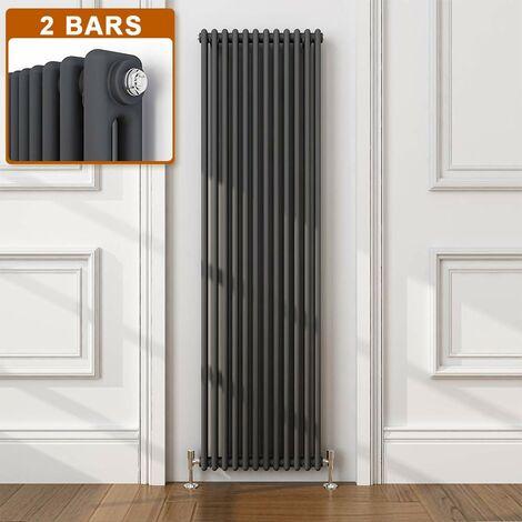 ELEGANT Traditional Radiator Anthracite Double Vertical Cast Iron Grey Radiator - Perfect for Kithcen, Living Room, Bathroom Radiators 2 Column 1800 x 560 mm + Angled Radiator Valves