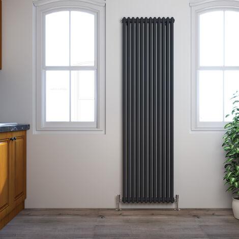 ELEGANT Traditional Radiator Anthracite Double Vertical Cast Iron Grey Radiator - Perfect for Kithcen, Living Room, Bathroom Radiators 2 Column 1800 x 560 mm + Chrome Thermostatic Radiator Valves