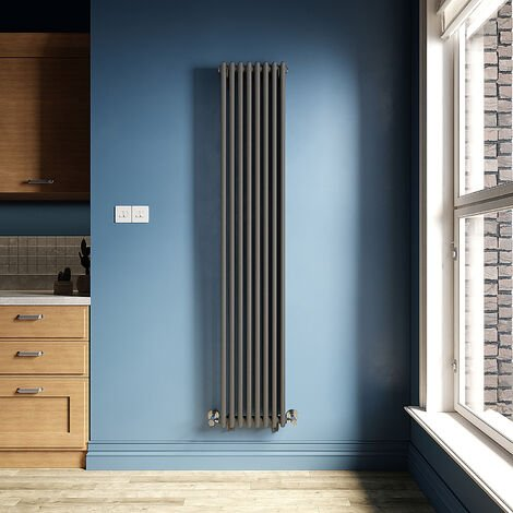 ELEGANT Traditional Radiator Anthracite Double Vertical Cast Iron Grey Tall Radiator - Perfect for Kithcen, Living Room, Bathroom Radiators 2 Column 1800 x 380 mm