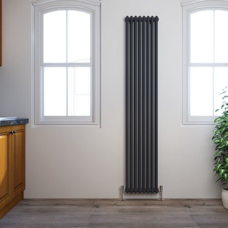 ELEGANT Traditional Radiator Anthracite Double Vertical Cast Iron Grey Tall Radiator - Perfect for Kithcen, Living Room, Bathroom Radiators 2 Column 1800 x 380 mm