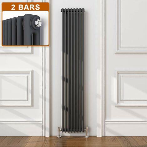 ELEGANT Traditional Radiator Anthracite Double Vertical Cast Iron Grey Tall Radiator - Perfect for Kithcen, Living Room, Bathroom Radiators 2 Column 1800 x 380 mm + Angled Radiator Valves
