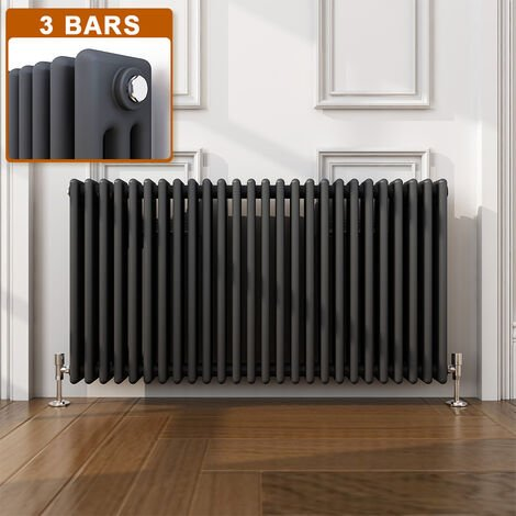 ELEGANT Traditional Radiator Anthracite Triple Horizontal Cast Iron Grey Radiator - Perfect for Kithcen, Living Room, Bathroom Radiators 3 Column 600 x 1190 mm