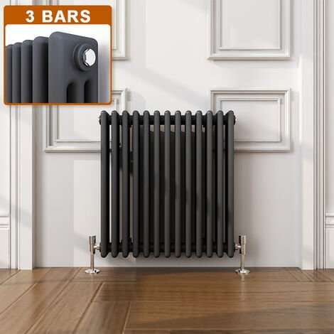ELEGANT Traditional Radiator Anthracite Triple Horizontal Cast Iron Grey Radiator - Perfect for Kithcen, Living Room, Bathroom Radiators 3 Column 600 x 605 mm