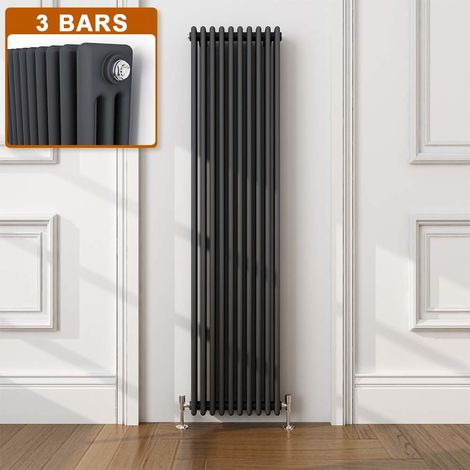 ELEGANT Traditional Radiator Anthracite Triple Vertical Cast Iron Grey Tall Radiator - Perfect for Kithcen, Living Room, Bathroom Radiators 3 Column 1800 x 470 mm